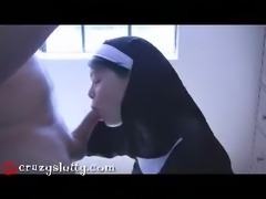 CrazySlutty nun punished with cock and cum!