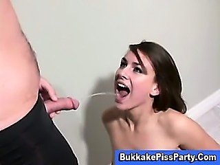 Pissing shower bukkake slut piss facial
