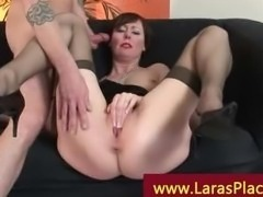 Mature in stockings fucked at home