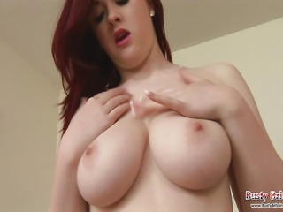 Sexy babe Jaye Rose plays with her big boobs then gets a dildo out to pound her large melons and pretty pink pussy