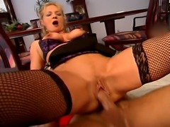 Horny blonde curly hair MILF with milky tits enjoys a hardcore fucking on the floor and screams & moans really loud while getting drilled by her boyfriend.