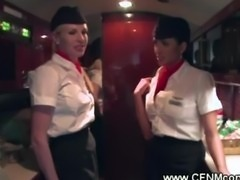 Cougar stewardess sucking passenger