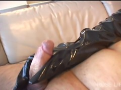 gloved handjob
