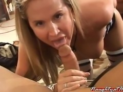 dirty milf wife desirae sucks off one of her members pov style