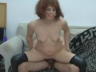 Sexy hot redhead girl giving blowjob to her neighbor and getting pumped by his big white while she crying out loud in pleasure.