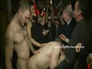 Ropes hold hands and neck of man while gay cocks prepare to fuck ass in...
