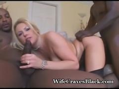 Blonde Wife Engulfs Two Black Studs free