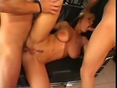 Big titted blonde takes it up the ass