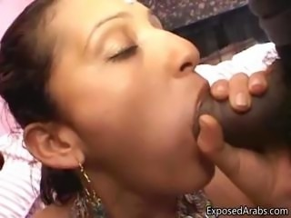 Horny Arabian girl sucking of two big part4