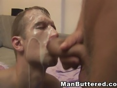 Man sucking cock then one gets fucked in his ass and load cum on the face.