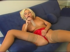 Horny Blonde German MILF experiments the ultimate satisfaction as she toys...