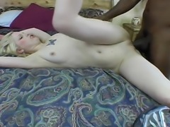 This horny tattooed blonde bitch is ready to fuck and she is already sucking...