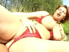 Big tited slut having the fucking of her life outdoors.