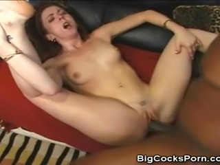 We have this hot and heavy interracial action between this babe and his black...