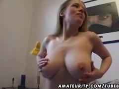 Busty amateur girlfriend masturbates and fucks with cumshot