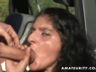 A cute brunette amateur girlfriend homemade outdoor hardcore action with...