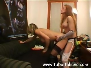 Italian lesbian babes with one in a mask toy and finger pussy