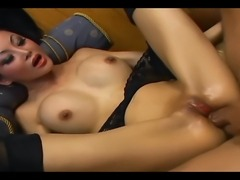 Petite asian with long hair fucking in stockings and a garter belt