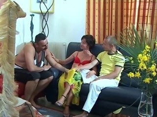 Petite brunette and toned dude suck mustachioed dude's dick together,...
