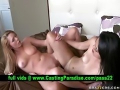 Brynn and Leah two lesbians toying in bed