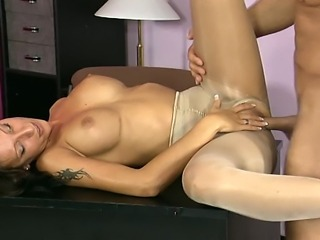 Brunette cuttie shares her private moments with her boss. Cock sucking slut made his dick stiff and ready for some hard pussy penetration. Guy had no mercy for her shaved cunt, plowing her hard and deep.
