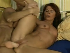 Redhead MILF with busty body has a very inviting pussy and this guy with his...