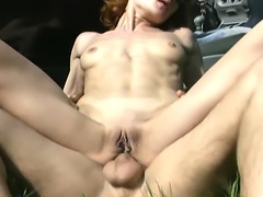 Hot young guy is banging a horny redhead and stretching her ass with his big...