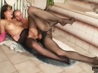 Naturaly busty girl perverted nylon pantyhose sex