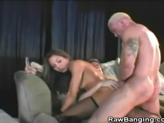 We have this hot asian babe in this threesome scene as she is banged hard by...