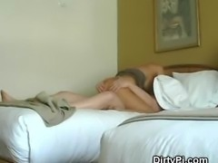 Blonde Housewife Caught Cheating On Motel Hidden Camera