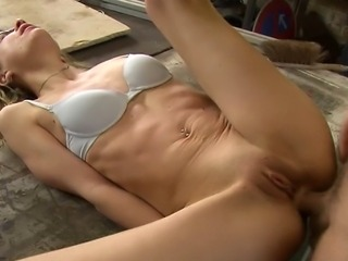 Blonde gets fucked by a carpenter in his workshop. She lets him fuck her cunt and asshole as well and cum on her glasses