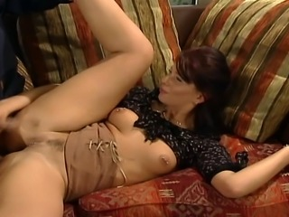 They have great sex on the couch, she is riding him like a crazy bitch she is. He puts her on knees and and gets her butt hole so hard that she moans with pleasure.