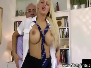 A lucky senior old man fucks a kinky blonde young pussy