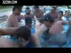 cute busty teen wear dissolve swimsuit in swimming pool