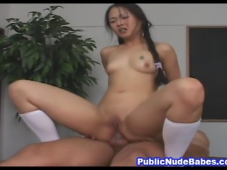 Watch this awesome naughty porn video featuring a very hot and naughty Asian babe as she seduces one lucky guy inside his office and bangs her tight anal hole on the desk table.