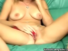 We have this sexy babe in this clip as she plays with her red undies. Watch...