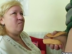 Huge granny tastes his cock then doggystyled
