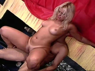 Busty blonde bombshell makes her boyfriend bust a nut. She sucks his cock and...