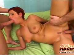 Busty Hungarian bitch gets laid with 2 guys