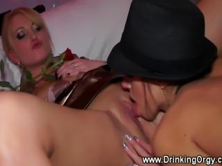 European pornstars sucking cock at party for lucky guy