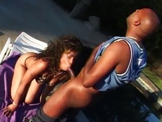 Ebony pussy outdoor bikini pool fucking