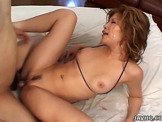 Boy this chick Hotaru Akane is seriously like the hottest slut in a bikini that I have seen in a long time and that is for sure. Not only is this chick really damn fine looking, she is also as horny as hell and here you will be seeing her getting fucked in all sorts of positions ending with a very nice cumshot.