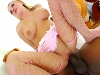 Chunky blonde American does anal with 2 really long black cocks.