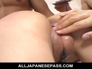 Naami Hasegawa has her beautiful big tits licked and sucked while she was blindfolded. She doesn?t realize that these three guys are dressed up in cosplay costumes. They rip her pantyhose as they suck and fondle her succulent bodies. After they finger and toy her pussy they begin to shove those hard dicks into her pussy pounding her hard.