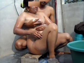 me & my wife bathing