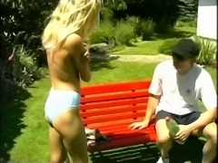 Blonde girl gets fucked and gives a HJ in the garden