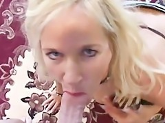 Mature blonde gives head with facial