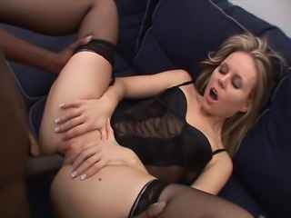 Sexy babe gives blowjob to black dude before she pulls her panties aside and...