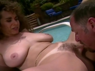 Big titted Redhead MILF in swimsuit  gets her hairy pussy fucked hard by her...