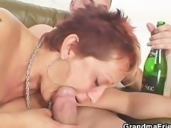 Lonely grandma gets pounded by two buddies